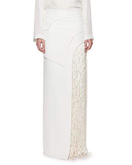 TOM FORD Column Skirt with Beaded Fringe Panel,