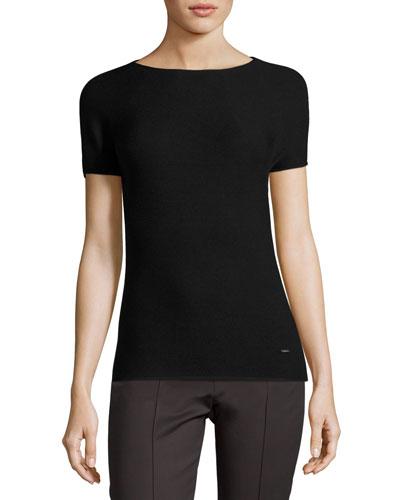 Ribbed Short-Sleeve Top, Black