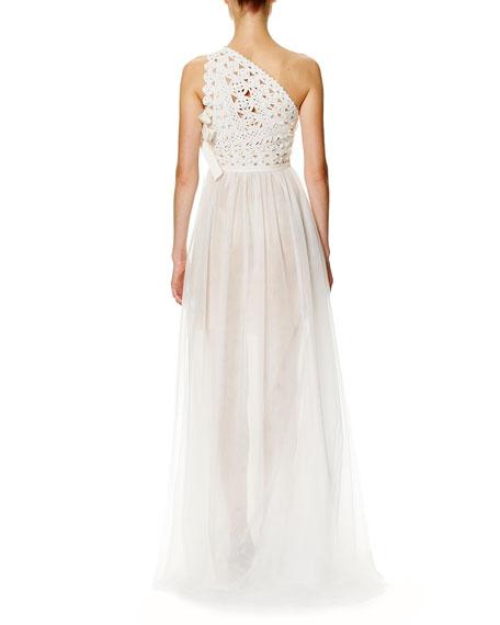 Laser-Cut One-Shoulder Tulle Gown