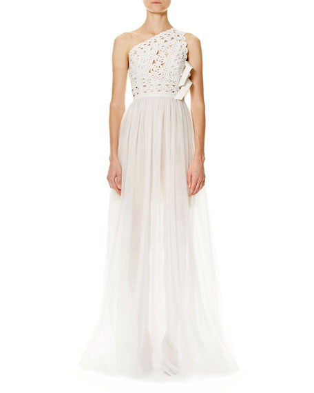 Carolina Herrera Laser-Cut One-Shoulder Tulle Gown