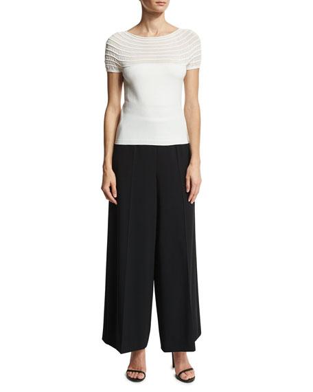 Sequined-Waist Wide-Leg Pants