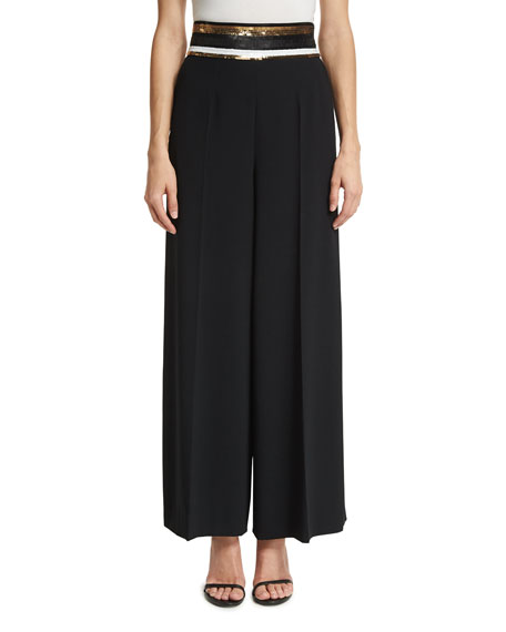 Escada Sequined-Waist Wide-Leg Pants