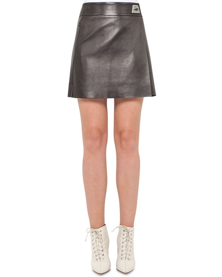 Akris Napa Leather A-Line Wrap Miniskirt, Black and