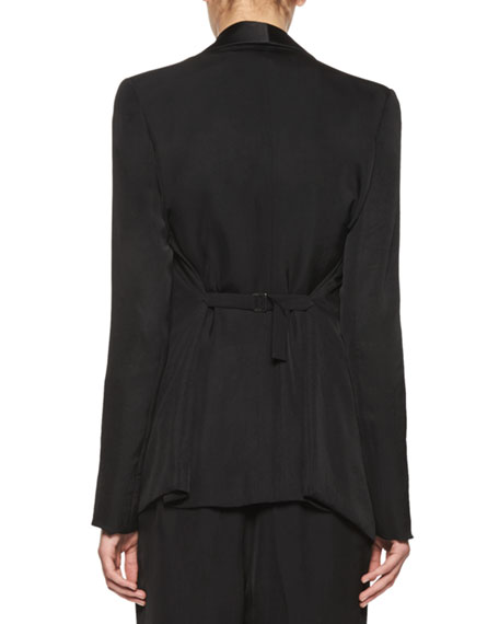 Unstructured Shawl-Collar Tuxedo Jacket, Black
