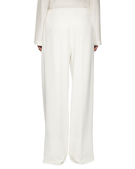 Pleated Side-Zip Pants, White