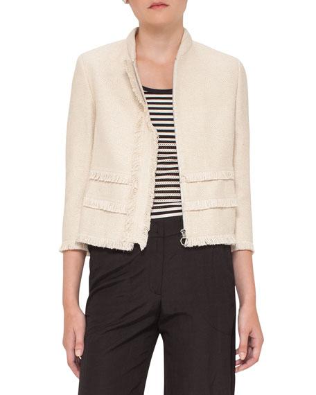 Akris punto Fringe-Trim Zip-Front Jacket, Linen