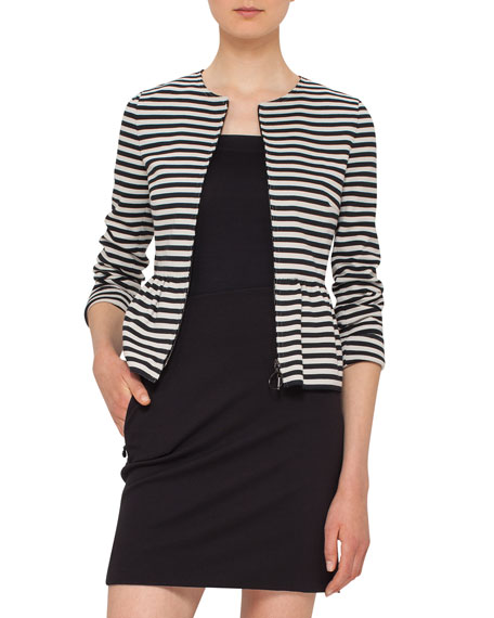 Akris punto Striped Peplum Zip Jacket, Black/Cream