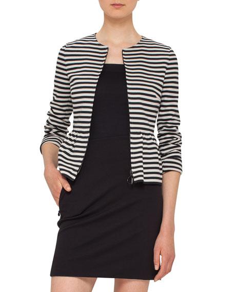 Akris punto Striped Peplum Zip Jacket, Black/Cream