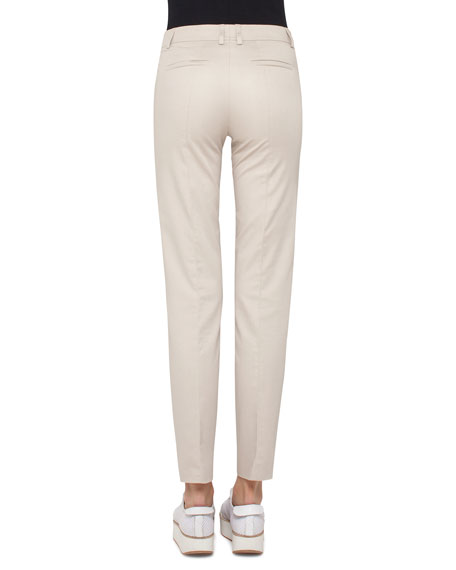 Fabia Pintucked Slim-Fit Pants, Linen