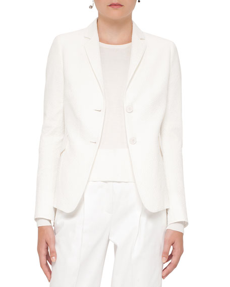 Seersucker Two-Button Blazer, Cream