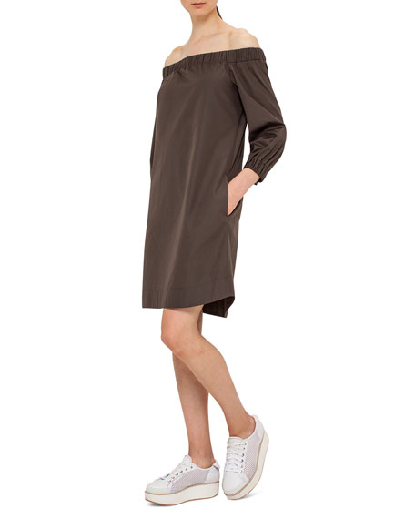 Akris punto Off-the-Shoulder Cotton Shift Dress, Olive