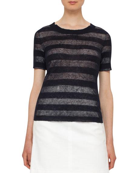 Striped Crewneck Knit Top, Navy/Cream