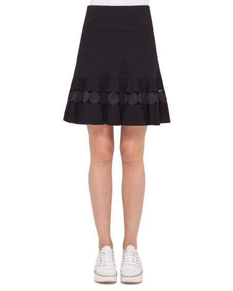 Akris punto Dot-Lace Ruffled-Hem A-Line Skirt, Navy