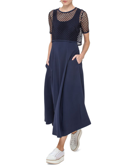 Akris punto Sleeveless Maxi Dress with Mesh Overlay,