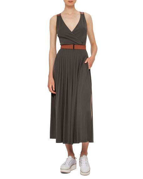 Akris punto Belted Pleated Sleeveless Maxi Dress, Olive