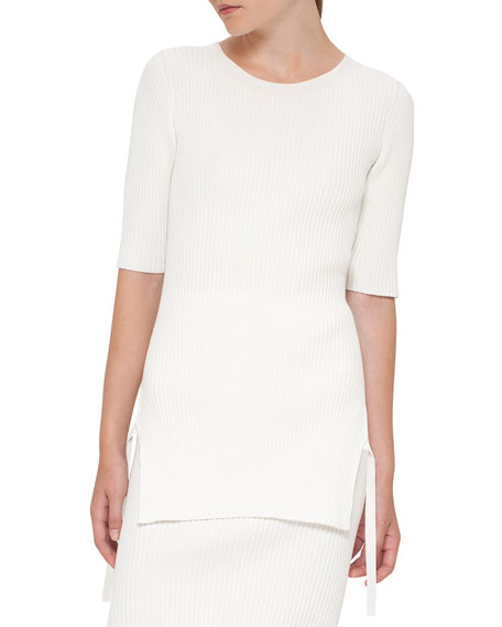 Ribbed Side-Slit Half-Sleeve Sweater, Cream