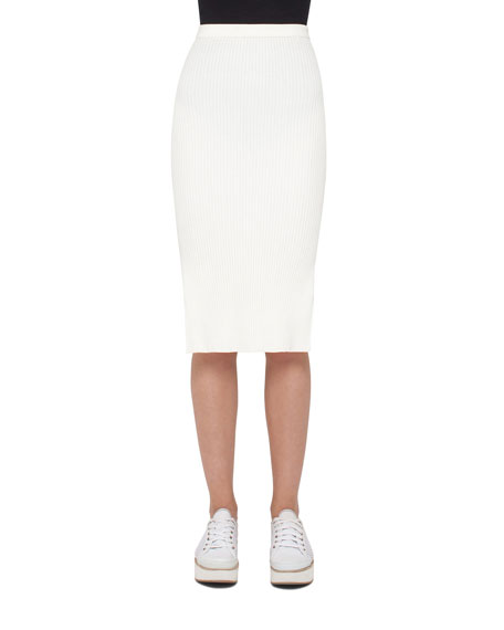 Akris punto Side-Slit Pencil Midi Skirt, Cream