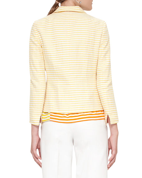 Striped Two-Button Short Jacket, Cream/Sun