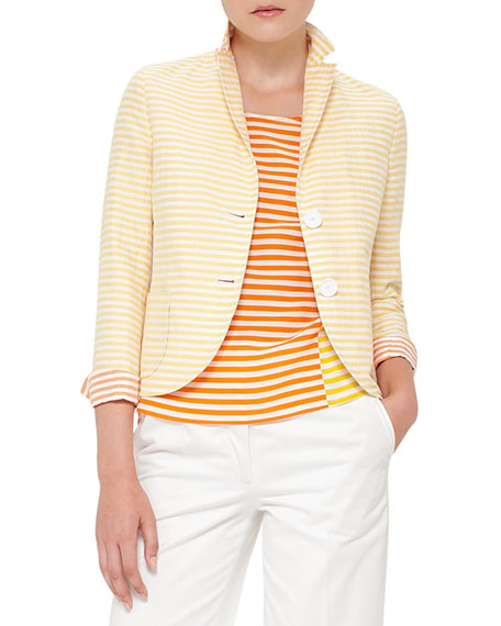 Akris punto Striped Two-Button Short Jacket, Cream/Sun