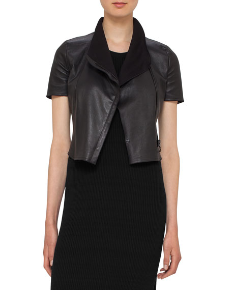 Akris punto Leather Short-Sleeve Cropped Biker Jacket, Black