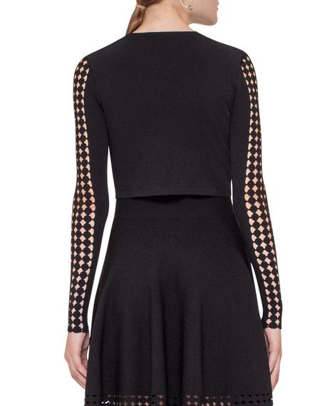 Lace-Sleeve Zip Bolero, Black