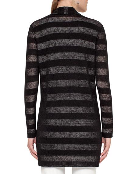 Striped Long Open Cardigan, Black/Cream