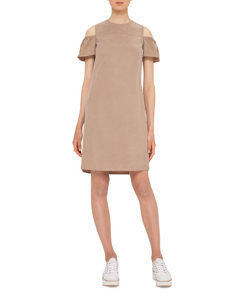 Akris punto Ruffled Cold-Shoulder Shift Dress, Sand