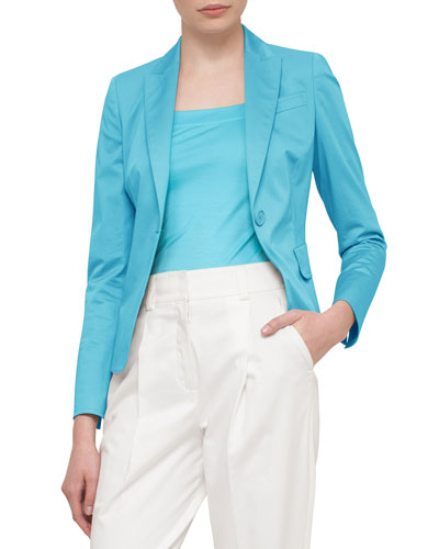 Stretch-Cotton One-Button Blazer, Turquoise