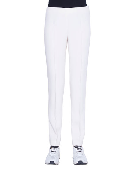 Akris Mid-Rise Slim-Leg Pants, Off White