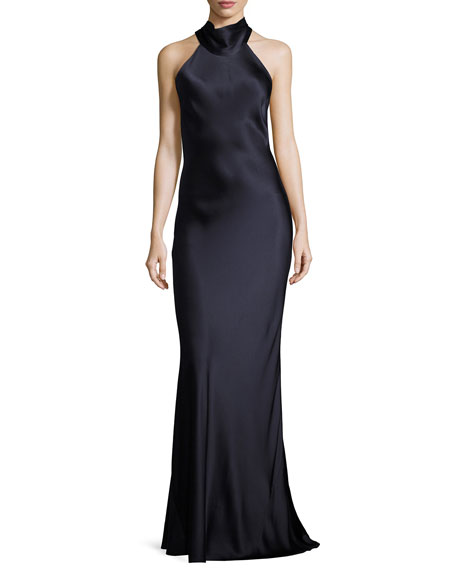 Tie-Neck Sleeveless Silk Gown, Dark Blue