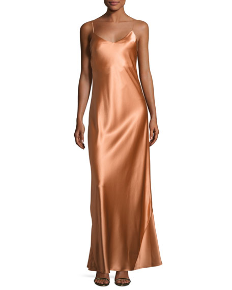 Alcazar Satin Crepe Gown, Orange