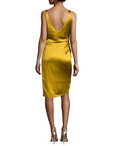 Isabella Sleeveless Satin V-Neck Dress with Lace-Up Slit, Gold