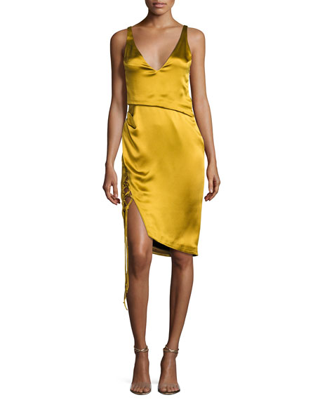 Isabella Sleeveless Satin V-Neck Dress with Lace-Up Slit, Gold