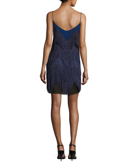 Feria Fringe V-Neck Cocktail Dress, Royal