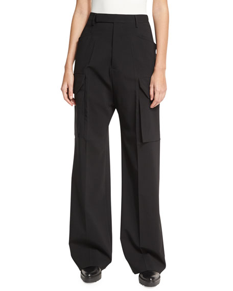 Wide-Leg Cargo Pants, Black