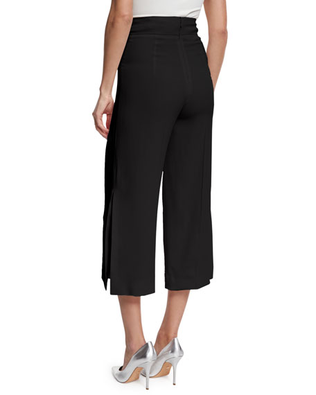 Cropped Wide-Leg Trousers, Black