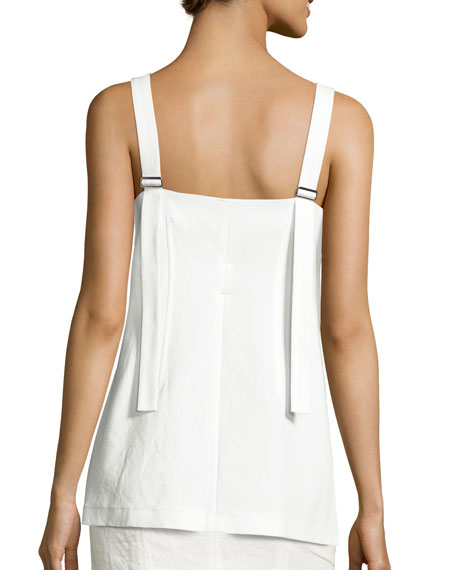 Hook-Front Camisole Top, White