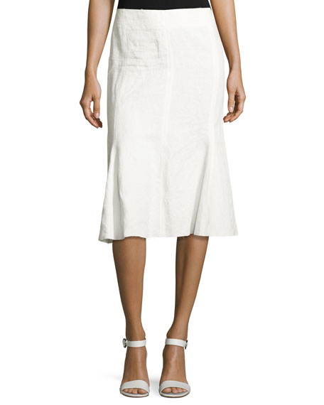 Linen Trumpet-Back Skirt, White