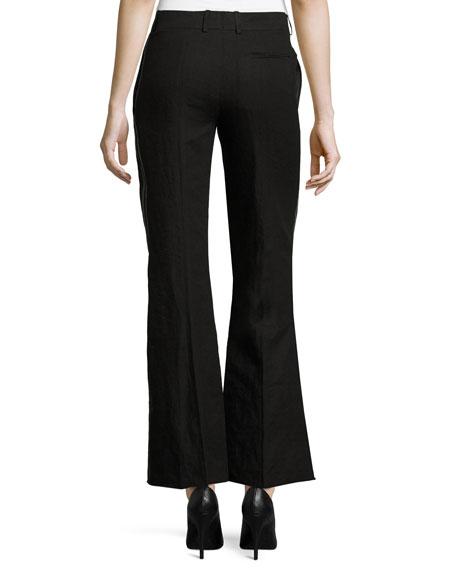 Tuxedo-Stripe Flared Pants, Black