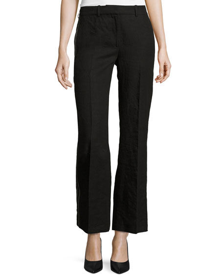 Tuxedo-Stripe Flared Pants, Black