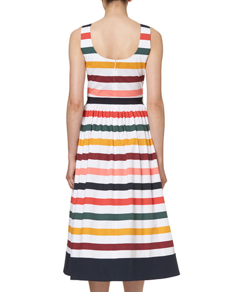 Sleeveless Striped Belted Midi Dress, Multicolor