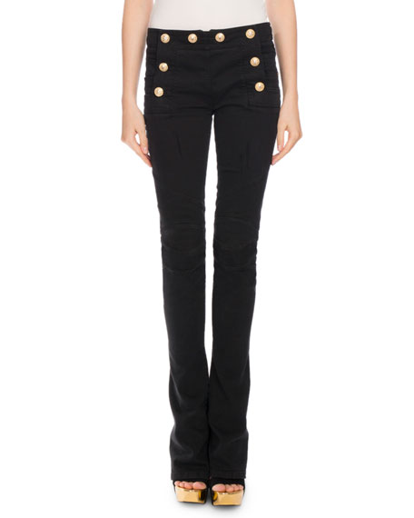 Balmain Sailor-Button Boot-Cut Jeans, Black
