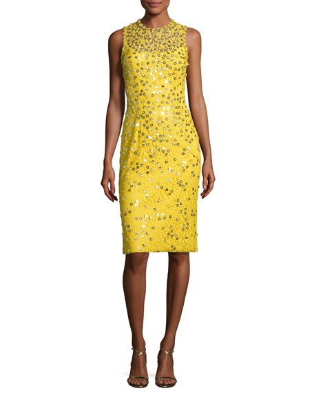 Jenny Packham Floral-Sequin Lace Sleeveless Cocktail Dress