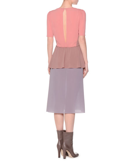 Short-Sleeve Colorblock Dress, Coral/Mauve/Lavender