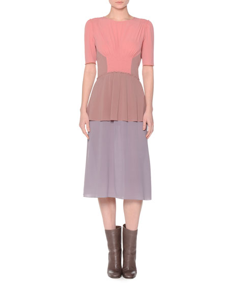 Agnona Short-Sleeve Colorblock Dress, Coral/Mauve/Lavender
