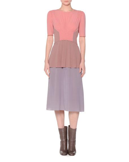 Agnona Short-Sleeve Colorblock Dress, Coral/Mauve/Lavender