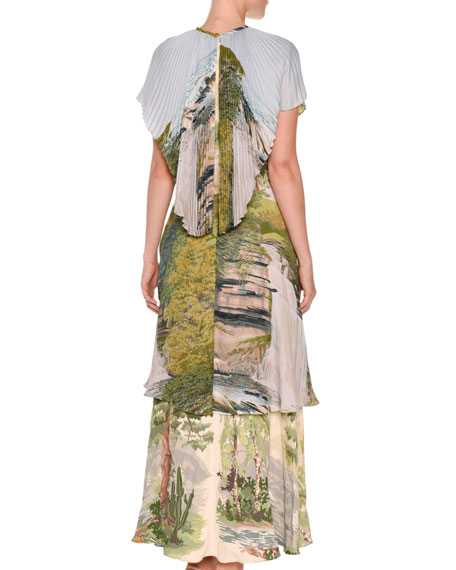 Landscape-Print Tiered Capelet Dress