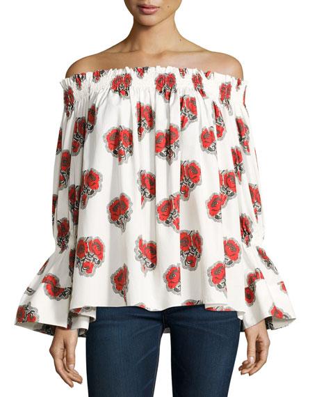 Alexander McQueen Poppy Off-the-Shoulder Bell-Sleeve Cotton Top