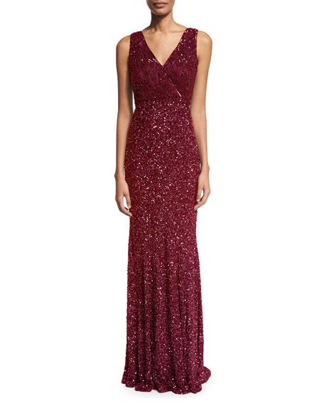 Rachel Gilbert Xandra Hand-Embellished V-Neck Gown, Burgundy