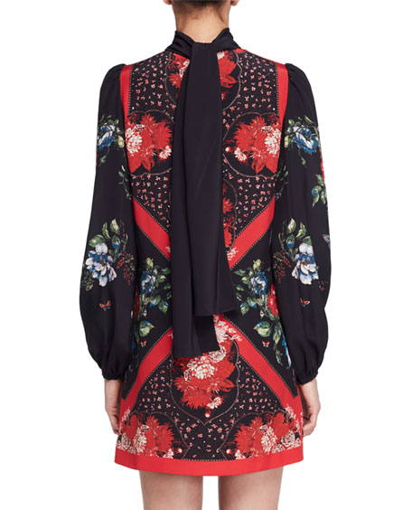 Tablecloth-Print Scarf-Neck Dress